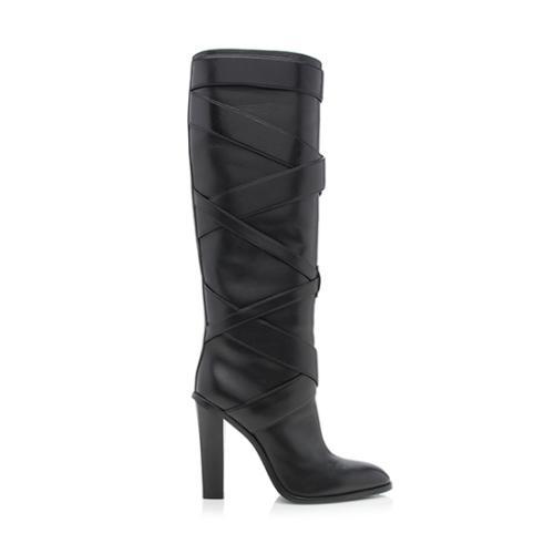 Saint Laurent Leather Wrap Boots - Size 9.5 / 39.5 - FINAL SALE