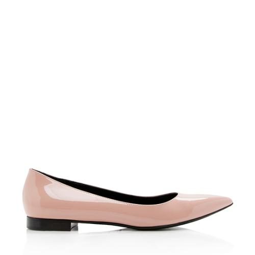 Saint Laurent Patent Leather Pointed Toe Flats - Size 7 / 37