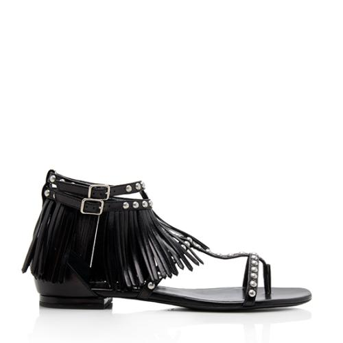 Saint Laurent Studded Fringe Sandals - Size 9.5 / 39.5