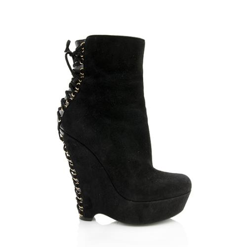 Saint Laurent Suede Corset Booties - Size 5.5 / 35.5