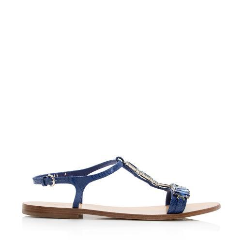 Salvatore Ferragamo Embossed Gelso Sandals - Size 9.5 / 39.5