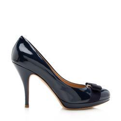 Salvatore Ferragamo Patent Leather Tina Vara Pumps - Size 9 / 39