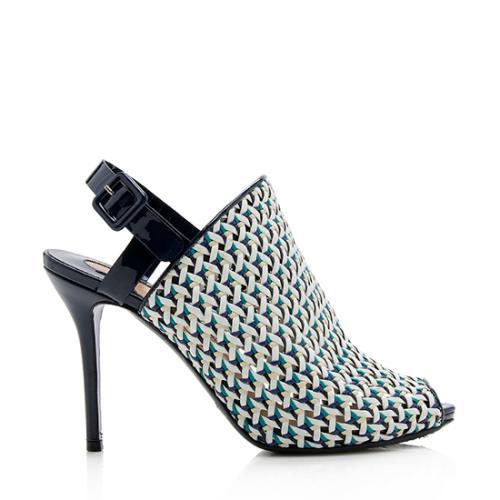 Salvatore Ferragamo Petal Leather Slingback Peep Toe Pumps - Size 7 / 37