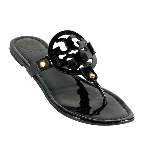 a7d937486e514 Tory Burch Patent Leather  Miller  Logo Thong Sandals - Size 9   39
