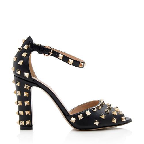 Valentino Leather Rockstud Block Heel Sandals - Size 8.5 / 38.5