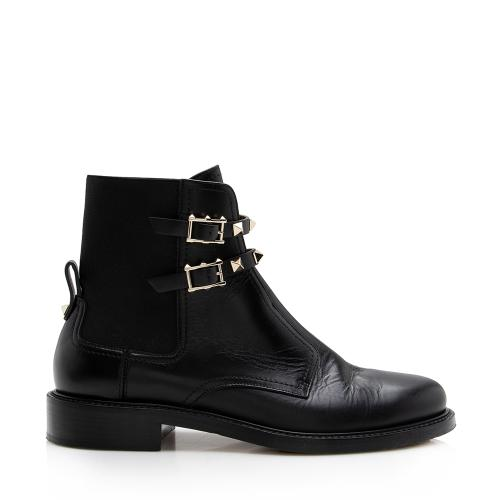 Valentino Leather Rockstud Boots - Size 8 / 38