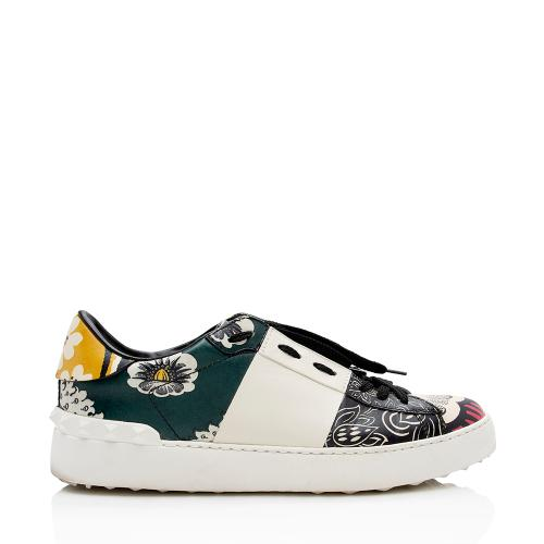 Valentino Leather Rockstud Floral Print Sneakers - Size 10 / 40