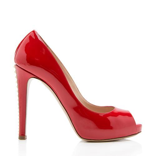 Valentino Leather Rockstud Heel Platform Pumps - Size 8 / 38