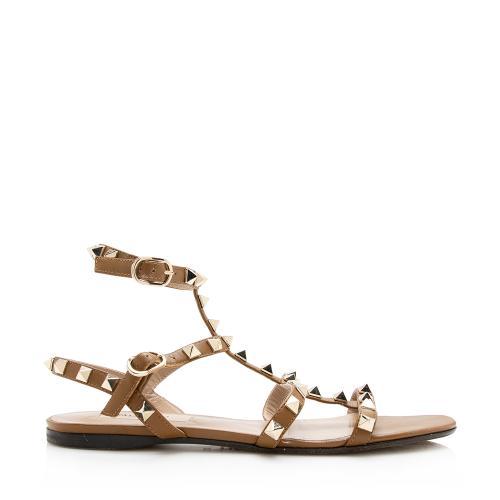 Valentino Leather Rockstud Sandals - Size 5.5 / 35.5