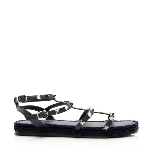 Valentino Leather Rockstud Torchon Espadrille Caged Flat Sandals - Size  9 / 39