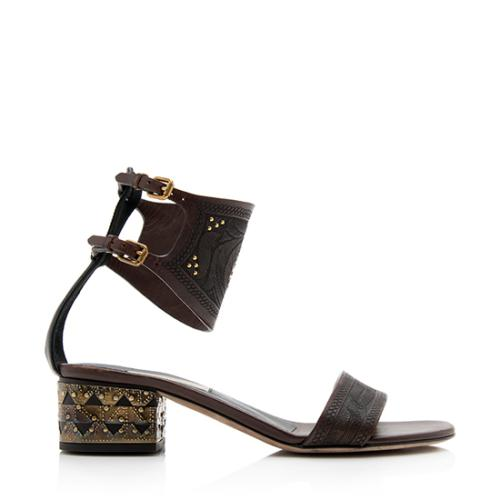 Valentino Leather Tribal Motif Sandals - Size 5.5 / 35.5