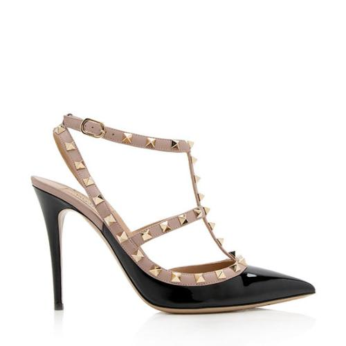 Valentino Patent Leather Rockstud T-Strap Pumps - Size 11 / 41