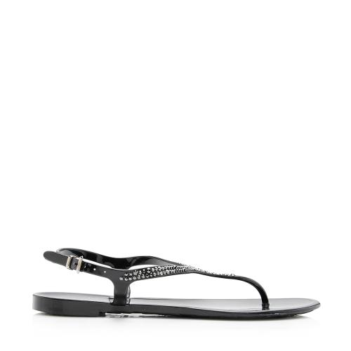 Valentino Rubber Poudre Crystal Sandals - Size 8 / 38