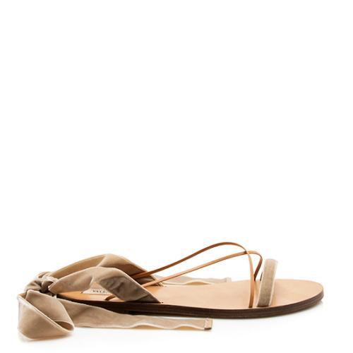 Valentino Velvet Lace Up Sandals - Size 9 / 39