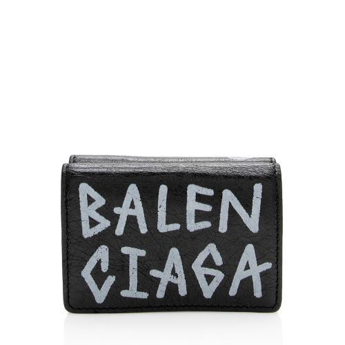 Balenciaga Leather Graffiti Mini Wallet