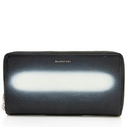 Balenciaga Leather Spray Paint Effect Zip Around Wallet