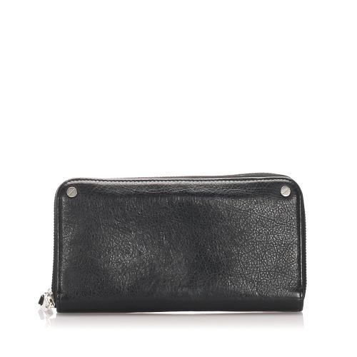 Balenciaga Leather Zip Around Wallet