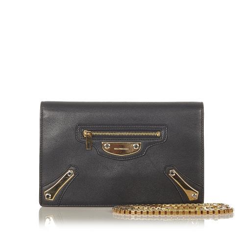Balenciaga Metal Plate City Wallet on Chain