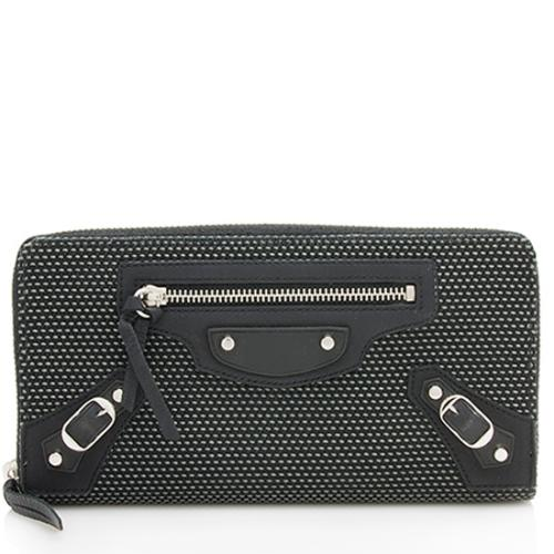 Balenciaga Woven Canvas Leather Classic Zip Around Wallet