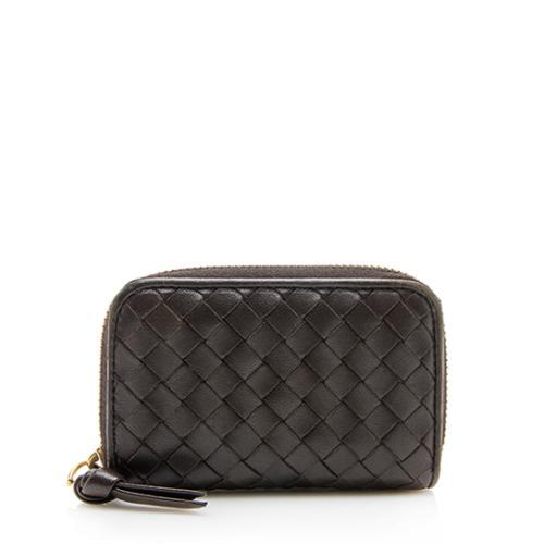 Bottega Veneta Intrecciato Nappa Zip Around Mini Card Case Wallet