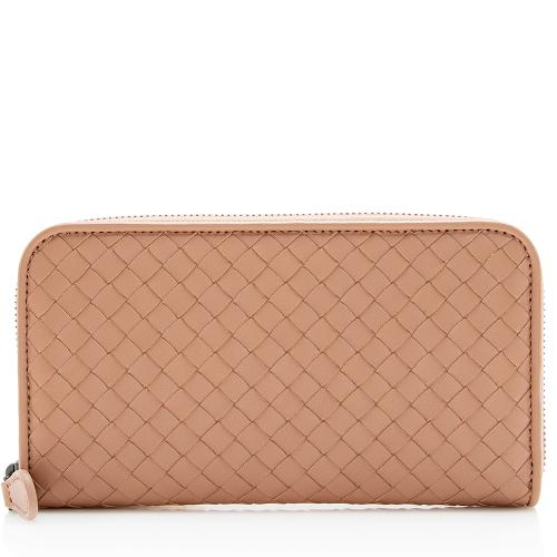 Bottega Veneta Intrecciato Nappa Zip Around Wallet