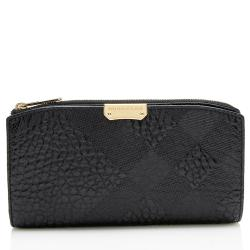 Burberry Embossed Check Grained Leather Continental Wallet