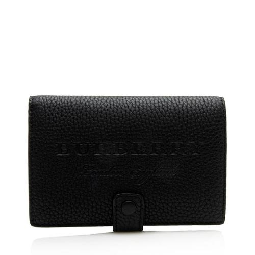 Burberry Embossed Leather Folding Compact Wallet