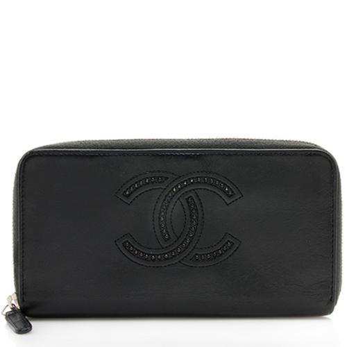 Chanel Calfskin Studded CC Zip Wallet