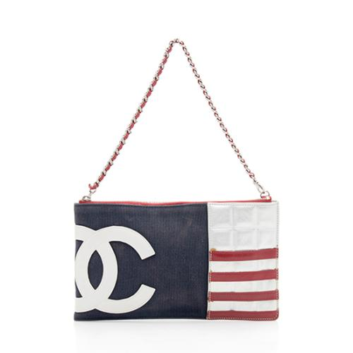 Chanel Canvas Leather American Flag Pochette - FINAL SALE