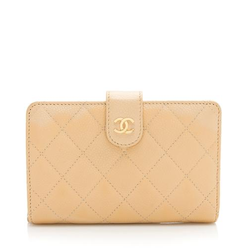 Chanel Caviar Leather L-Zip Pocket Wallet