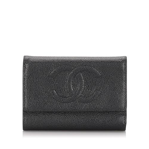 Chanel Caviar Leather Timeless Tri-Fold Wallet