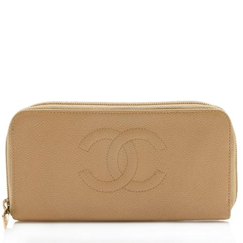 Chanel Caviar Leather Zip Around Wallet