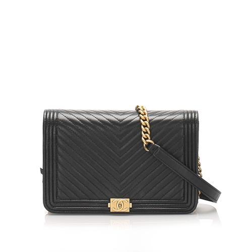 Chanel Chevron Boy Lambskin Wallet On Chain