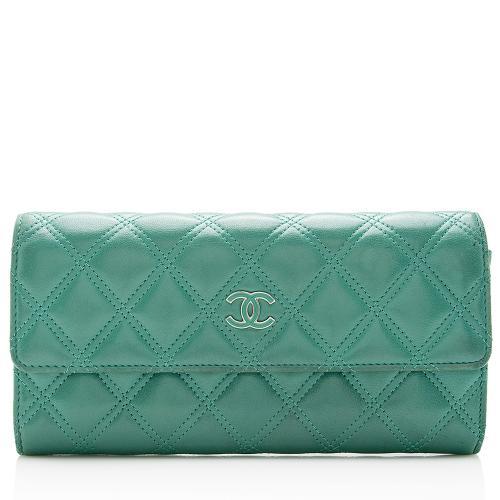 Chanel Leather Diamond Stitch Flap Wallet