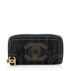 Chanel Denim CC Zip Around Wallet