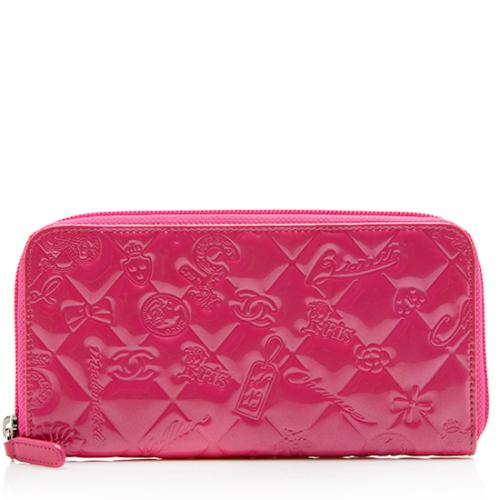 Chanel Embossed Patent Leather Lucky Symbols Zip Around Wallet
