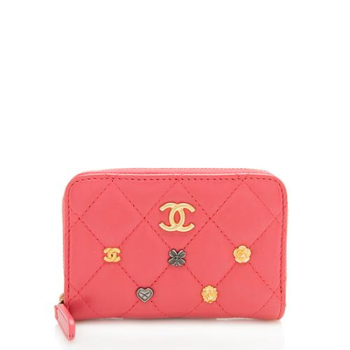 Chanel Lambskin CC Charms Compact Zip Wallet