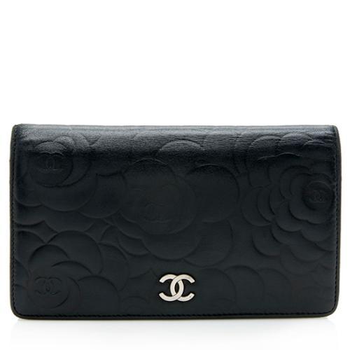 Chanel Lambskin Camellia CC Yen Wallet