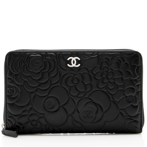 Chanel Lambskin Camellia Large Zip Wallet
