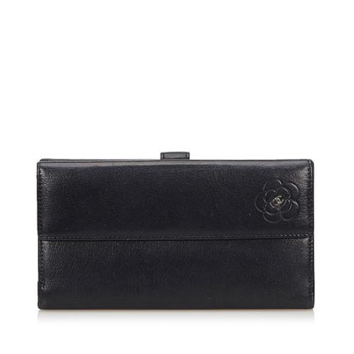 Chanel Lambskin Camellia CC L-Double Wallet