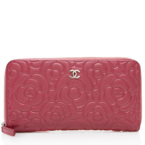 Chanel Lambskin Camellia Zip Wallet