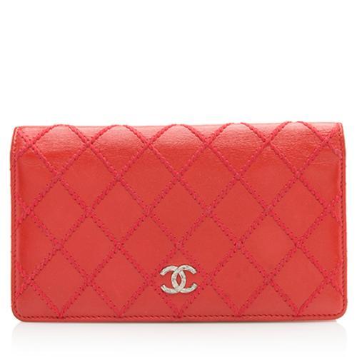 Chanel Lambskin Double Stitch CC Yen Wallet