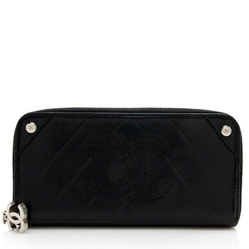 Chanel Lambskin Long Zip Around Wallet