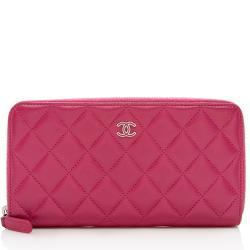 Chanel Lambskin Zip Around Wallet