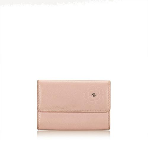 Chanel Leather Camelia Card Case