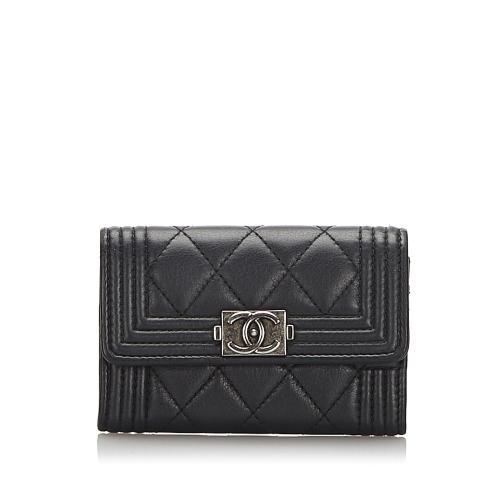 Chanel Leather Tri-fold Boy Small Wallet