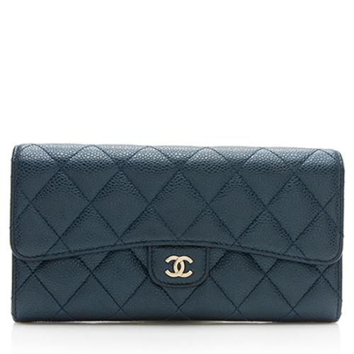 Chanel Metallic Caviar Leather Long Flap Wallet