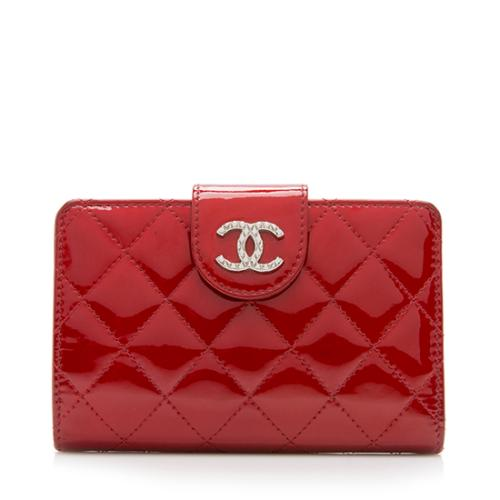 Chanel Patent Leather L-Zip Pocket Wallet