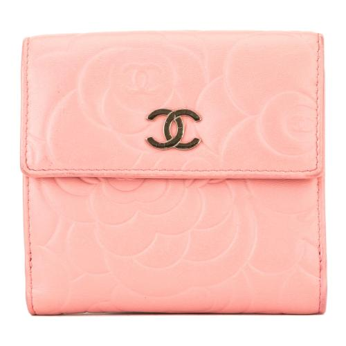 Chanel Lambskin Camelia Compact Wallet