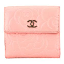 Chanel Lambskin Camelia Compact Wallet